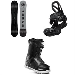 Arbor Element Black Camber Snowboard + Arbor Hemlock Snowboard Bindings + thirtytwo STW Boa Snowboard Boots 2020