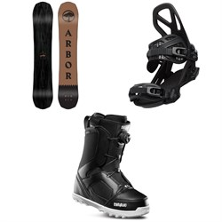 Arbor Element Black Rocker Snowboard + Arbor Hemlock Snowboard Bindings + thirtytwo STW Boa Snowboard Boots 2020