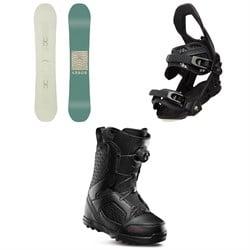 Arbor Poparazzi Rocker Snowboard - Women's + Arbor Sequoia Snowboard Bindings - Women's + thirtytwo STW Boa Snowboard Boots - Women's 2020