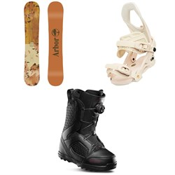 Arbor Cadence Rocker Snowboard ​+ Arbor Sequoia Snowboard Bindings ​+ thirtytwo STW Boa Snowboard Boots - Women's 2020