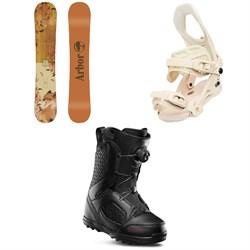 Arbor Cadence Rocker Snowboard - Women's + Arbor Sequoia Snowboard Bindings - Women's + thirtytwo STW Boa Snowboard Boots - Women's 2020
