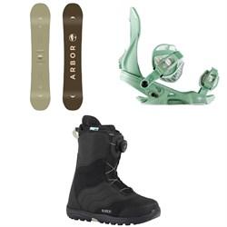 Arbor Ethos Snowboard - Women's  + Sequoia Snowboard Bindings - Women's  + Burton Mint Boa Snowboard Boots - Women's 2018