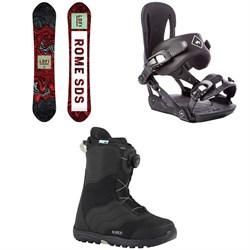 Rome Lo-Fi Rocker Snowboard - Women's + Strut Snowboard Bindings - Women's + Burton Mint Boa Snowboard Boots - Women's