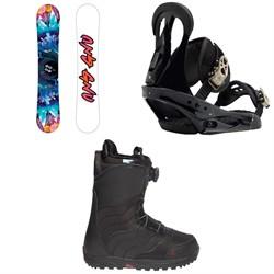 GNU Asym Velvet C2 Snowboard  + Burton Citizen Snowboard Bindings  + Mint Boa R Snowboard Boots - Women's 2018