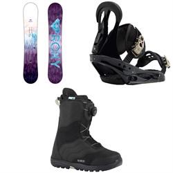 Roxy Sugar Banana Snowboard - Women's  + Burton Citizen Snowboard Bindings - Women's  + Mint Boa Snowboard Boots - Women's 2018