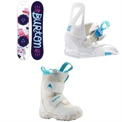 Burton Chicklet Snowboard - Girls' ​+ Grom Snowboard Bindings - Little Kids' ​+ Mini Grom Snowboard Boots - Little Kids' 2021
