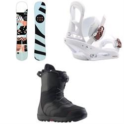 Burton Hideaway Snowboard - Women's + Stiletto Snowboard Bindings - Women's + Mint Boa Snowboard Boots - Women's 2020