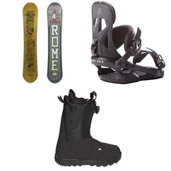 Rome Crossrocket Snowboard + Rome Arsenal Snowboard Bindings + Burton Moto Boa Snowboard Boots