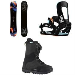 Bataleon Distortia Snowboard - Women's  + Switchback Forever Snowboard Bindings - Women's  + Burton Mint Boa Snowboard Boots - Women's 2018