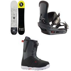 Burton Descendant Snowboard + Burton Custom Snowboard Bindings + Burton Moto Boa Snowboard Boots 2020