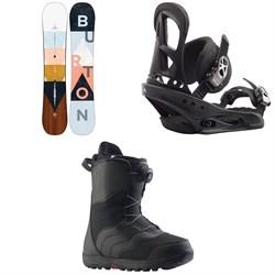 Burton Yeasayer Flying V Snowboard - Women's + Stiletto Snowboard Bindings - Women's + Mint Boa Snowboard Boots - Women's 2020