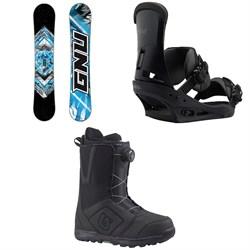 GNU Gnuru Asym C2E Snowboard + Burton Custom Snowboard Bindings + Moto Boa Snowboard Boots 2018