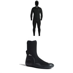 Imperial Motion 5​/4​/3 Lux Deluxe Hooded Chest Zip Wetsuit ​+ Imperial Motion 5mm Lux Round Toe Wetsuit Booties