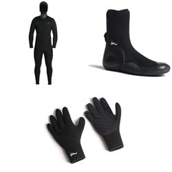 Imperial Motion 5/4/3 Lux Deluxe Hooded Chest Zip Wetsuit + Imperial Motion 5mm Lux Round Toe Wetsuit Booties + Imperial Motion 3mm Lux Wetsuit Gloves