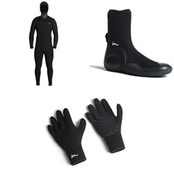 Imperial Motion 5​/4​/3 Lux Deluxe Hooded Chest Zip Wetsuit ​+ Imperial Motion 5mm Lux Round Toe Wetsuit Booties ​+ Imperial Motion 3mm Lux Wetsuit Gloves