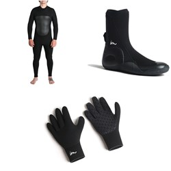 Imperial Motion 5/4/3 Lux Deluxe Back Zip Wetsuit + Imperial Motion 5mm Lux Round Toe Wetsuit Booties + Imperial Motion 3mm Lux Wetsuit Gloves