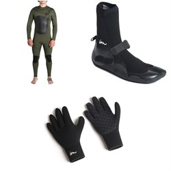 Imperial Motion 4/3 Lux Deluxe Chest Zip Wetsuit + Imperial Motion 3mm Lux Split Toe Wetsuit Booties + Imperial Motion 3mm Lux Wetsuit Gloves