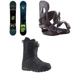 Rome Factory Rocker Snowboard + Rome Arsenal Snowboard Bindings + Burton Moto Boa Snowboard Boots