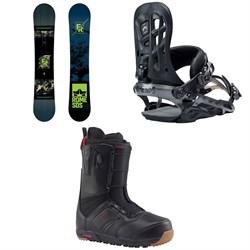 Rome Factory Rocker Snowboard + Rome 390 Boss Snowboard Bindings + Burton Ruler Snowboard Boots