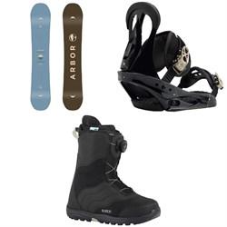 Arbor Ethos Snowboard - Women's  + Burton Citizen Snowboard Bindings - Women's  + Burton Mint Boa Snowboard Boots - Women's 2018
