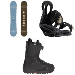 Arbor Ethos Snowboard  + Burton Citizen Snowboard Bindings  + Mint Boa R Snowboard Boots - Women's 2018