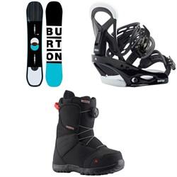 Burton Custom Smalls Snowboard  - Kids + Smalls Snowboard Bindings - Kids + Zipline Boa Snowboard Boots - Kids' 2020