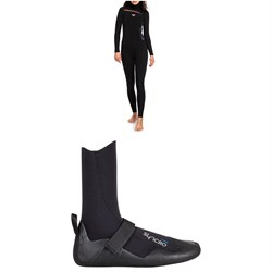 Roxy 5​/4​/3 Syncro Chest Zip GBS Hooded Wetsuit - Women's ​+ Roxy 5mm Syncro Round Toe Wetsuit Boots - Women's