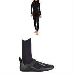 Roxy 5​/4​/3 Syncro Chest Zip GBS Hooded Wetsuit - Women's ​+ Roxy Syncro 5mm Round Toe Wetsuit Boots - Women's