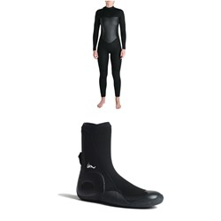 Imperial Motion 5/4/3 Luxxe Deluxe Back Zip Wetsuit - Women's + Imperial Motion 5mm Lux Round Toe Wetsuit Booties