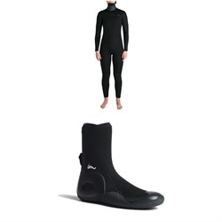 Imperial Motion 5/4/3 Luxxe Deluxe Hooded Chest Zip Wetsuit - Women's + Imperial Motion 5mm Lux Round Toe Wetsuit Booties