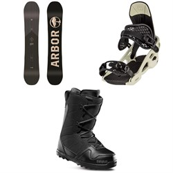 Arbor Foundation Snowboard + Arbor Spruce Snowboard Bindings + thirtytwo Exit Snowboard Boots 2020