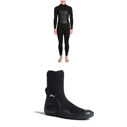 Imperial Motion 4/3 Luxxe Deluxe Back Zip Wetsuit - Women's + Imperial Motion 5mm Lux Round Toe Wetsuit Booties
