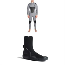 Imperial Motion 4/3 Lux Deluxe Chest Zip Wetsuit + Imperial Motion 5mm Lux Round Toe Wetsuit Booties