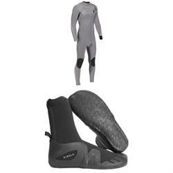 Vissla 4/3 High Seas Drainer Chest Zip Wetsuit + Vissla 5mm 7 Seas Round Toe Wetsuit Boots