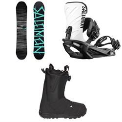 Salomon Craft X Snowboard  + Rhythm Snowboard Bindings  + Burton Moto Boa R Snowboard Boots 2018