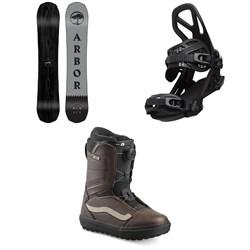 Arbor Element Black Camber Snowboard + Arbor Hemlock Snowboard Bindings + Vans Aura OG Snowboard Boots 2020