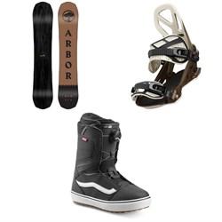 Arbor Element Black Rocker Snowboard + Arbor Hemlock Snowboard Bindings + Vans Aura OG Snowboard Boots 2020