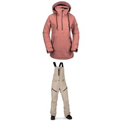 Volcom Fern Insulated GORE-TEX Pullover Jacket + Elm GORE-TEX Bib Overalls - Women's