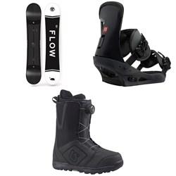 Flow Merc Snowboard 2018 + Burton Freestyle Snowboard Bindings  + Moto Boa Snowboard Boots 2018