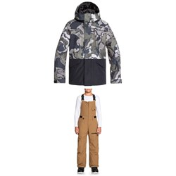 Quiksilver Mission Block Jacket ​+ Utility Bibs - Big Boys'