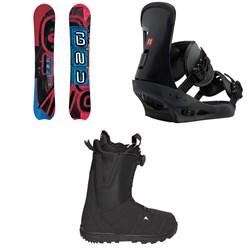 GNU Hyak BTX Snowboard  + Burton Freestyle Snowboard Bindings  + Moto Boa R Snowboard Boots 2018