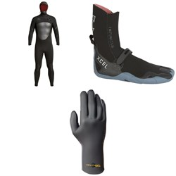 XCEL 5​/4 Axis Hooded Wetsuit ​+ XCEL 5mm Infiniti Round Toe Wetsuit Boots ​+ XCEL 4mm Infiniti Comp TDC 5-Finger Wetsuit Gloves