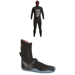 XCEL 5​/4 Axis Hooded Wetsuit ​+ XCEL 5mm Infiniti Round Toe Wetsuit Boots
