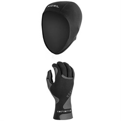 XCEL 0.5mm Axis Wetsuit Cap + XCEL 1.5mm Infiniti 5-Finger Wetsuit Gloves