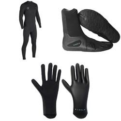 Vissla 7 Seas 4/3 Chest Zip Wetsuit + 3mm 7 Seas Split Toe Wetsuit Boots + 1.5mm High Seas Wetsuit Gloves