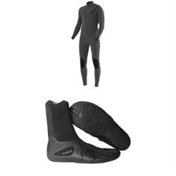 Vissla 4/3 7 Seas Chest Zip Wetsuit + Vissla 3mm 7 Seas Split Toe Wetsuit Boots
