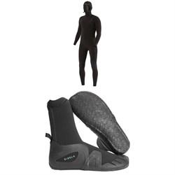 Vissla 4/3 7 Seas Chest Zip Hooded Wetsuit + Vissla 7 Seas 5mm Round Toe Wetsuit Boots