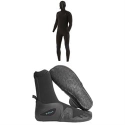 Vissla 7 Seas 4​/3 Chest Zip Hooded Wetsuit ​+ Vissla 7 Seas 5mm Round Toe Wetsuit Boots