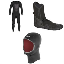 XCEL 4​/3 Axis X Wetsuit ​+ 3mm Drylock Split Toe Boots ​+ 2mm Infiniti Comp Thermo Lite Hood