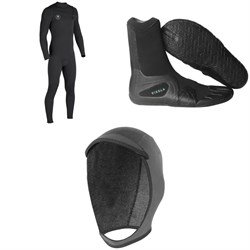 Vissla 7 Seas 4/3 Chest Zip Wetsuit + 7 Seas 3mm Split Toe Wetsuit Boots + 7 Seas 3mm Wetsuit Hood